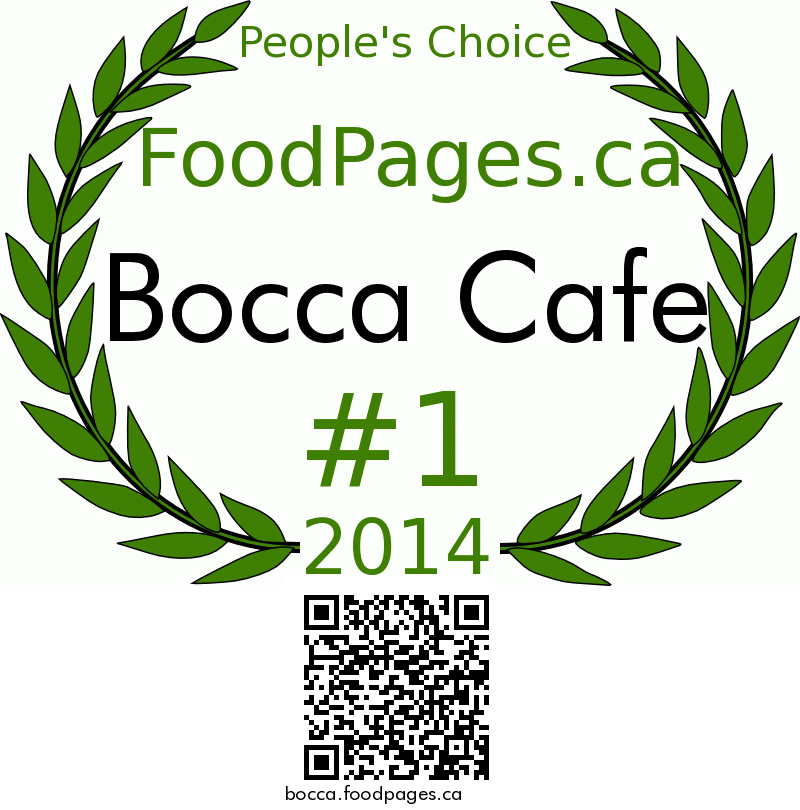 Bocca Cafe FoodPages.ca 2014 Award Winner